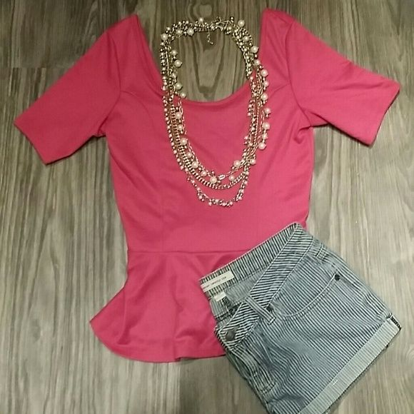  New  Pink Peplum Top small Like new condition, no tags. Shorts and necklace sold separately eyelash couture  Tops