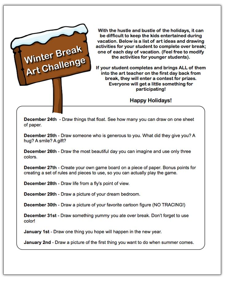 Give your Students a Winter Break Art Challenge to help combat boredom and promote the arts over the holiday break!