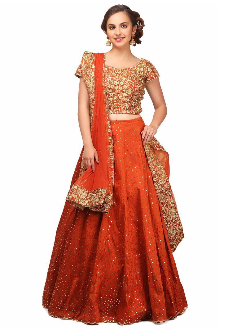 Buy Sequins Work Art Silk Circular Lehenga in Rust online, work: Embroidered, color: Rust, usage: Wedding, category: Lehenga Choli, fabric: Art Silk, price: $340.01, item code: LPW3, gender: women, brand: Utsav