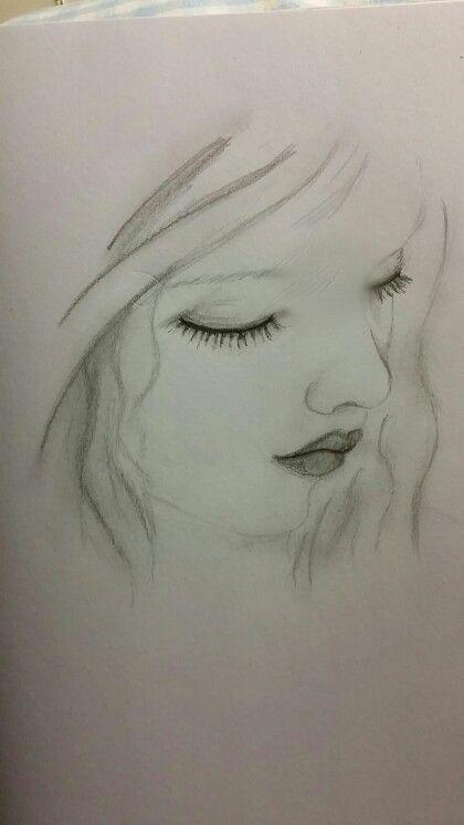 Little girl looking down sketch