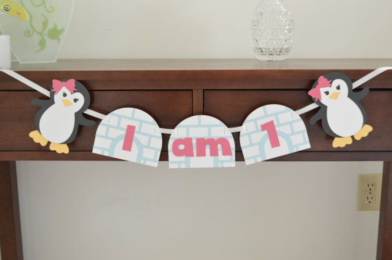 Penguin High Chair Banner - I am 1 - I am One - Girl Penguin - Winter Birthday Theme - 1st Birthday Party - First Birthday Decor - Igloo
