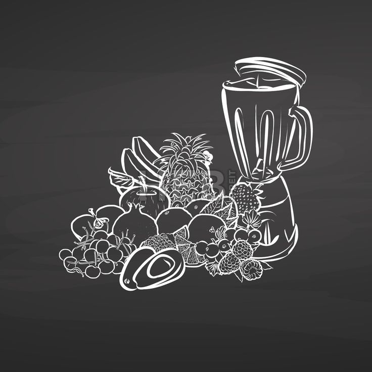 Juicy fruits and mixer on chalkboard. Hand drawn healthy food sketch. Black and White Vector Drawing on Blackboard. ... ... by #Hebstreit