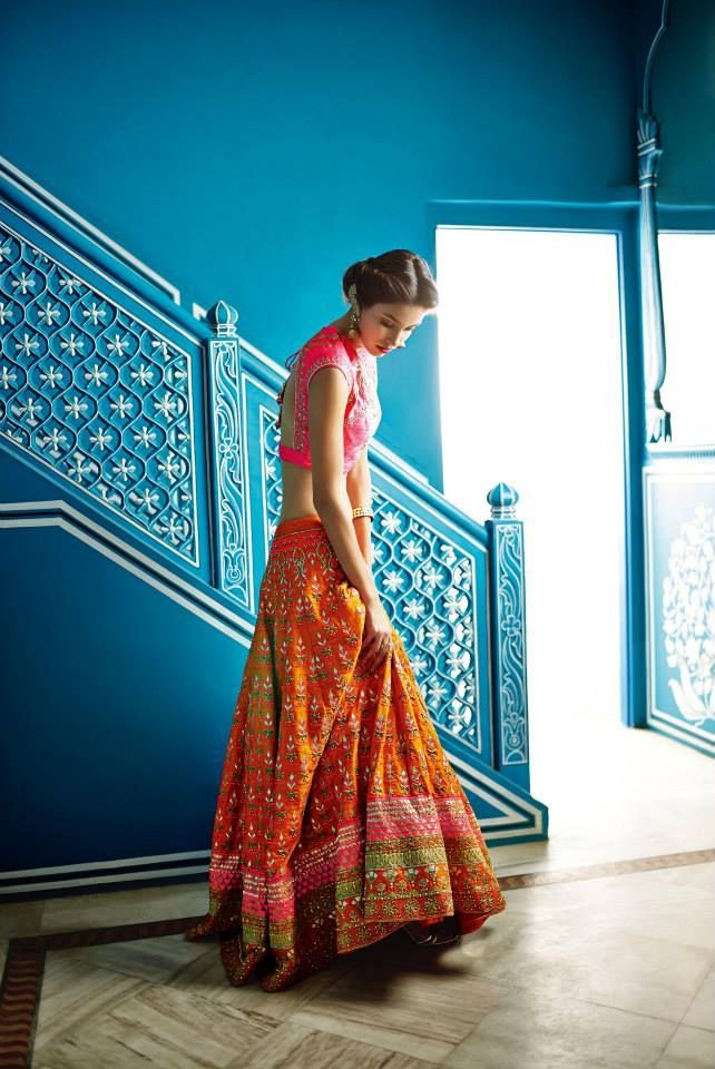 Loveee the colours. Very ethnic. Anita Dongre Festive 2014 collection orange and pink lengha choli 5