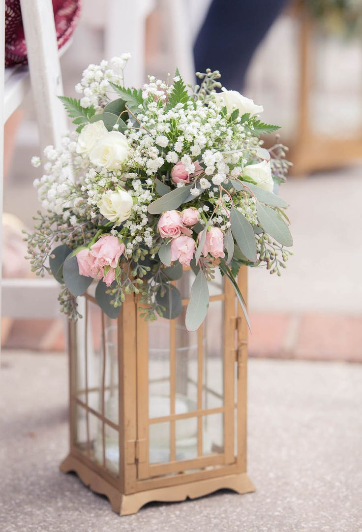 White, Ivory and Light Pink Centerpiece Flowers in Gold Lantern   White and Ivory Wedding Reception Décor   Tampa Wedding Floral Designer Northside Florist