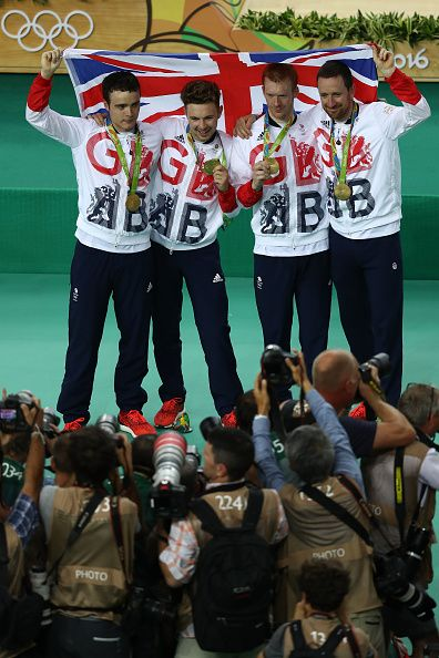 Gold medalists Steven Burke Owain Doull Edward Clancy and Bradley Wiggins of…