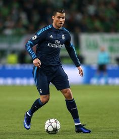 Real Madrid's Portuguese forward Cristiano Ronaldo kicks the ball during the UEFA Champions League quarter-final, first-leg football match between VfL Wolfsburg and Real Madrid on April 6, 2016 in Wolfsburg, northern Germany.