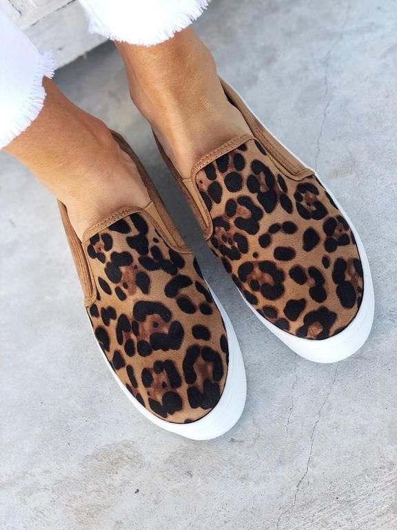 Leopard slip on sneakers, Casual shoes