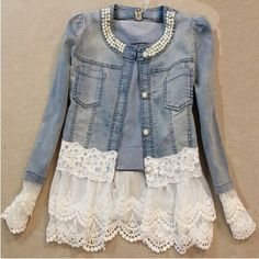 Vintage Beaded Lace Denim Women Jacket – Daisy Dress For Less: