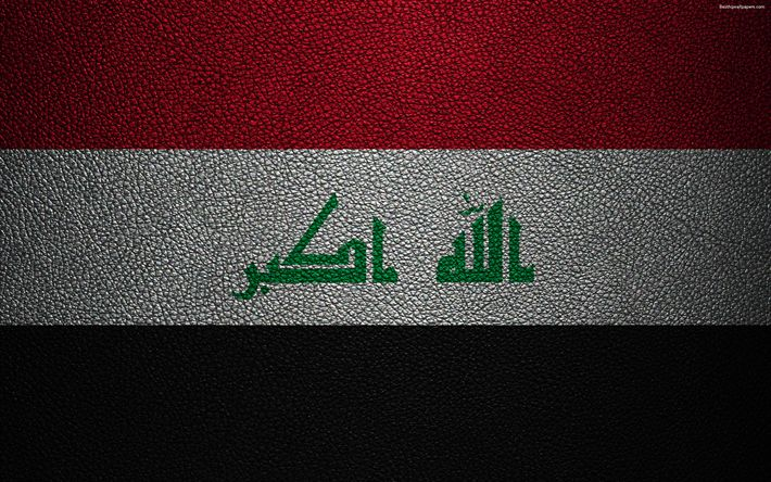 Download wallpapers Flag of Iraq, 4k, leather texture, Iraqi flag, Asia, world flags, Iraq