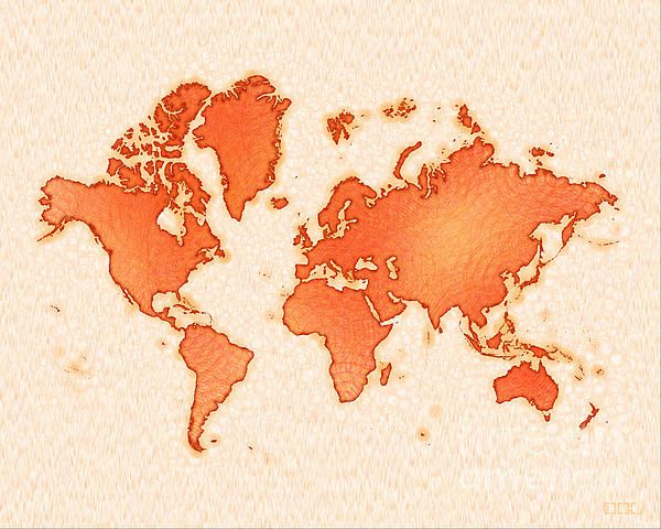 World Map Airy In Orange And White by elevencorners. World map wall print decor. #elevencorners #mapairy