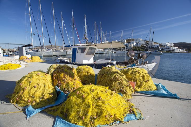 ☼ Grecia Greece ☼ Cyclades Island Kythnos Fishing nets drying in Loutra, Kythnos