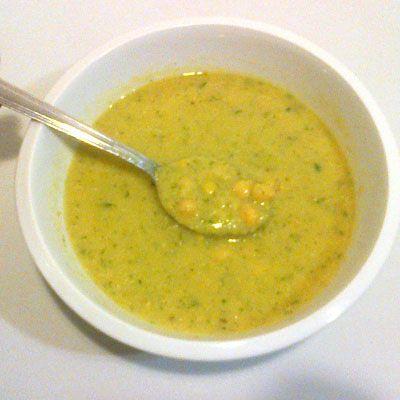Cizrnová polévka s polníčkem a špenátem