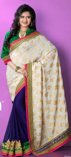Beidge Viscose Stylish Embroidery Saree/Partywear/Designerwear #TS3053