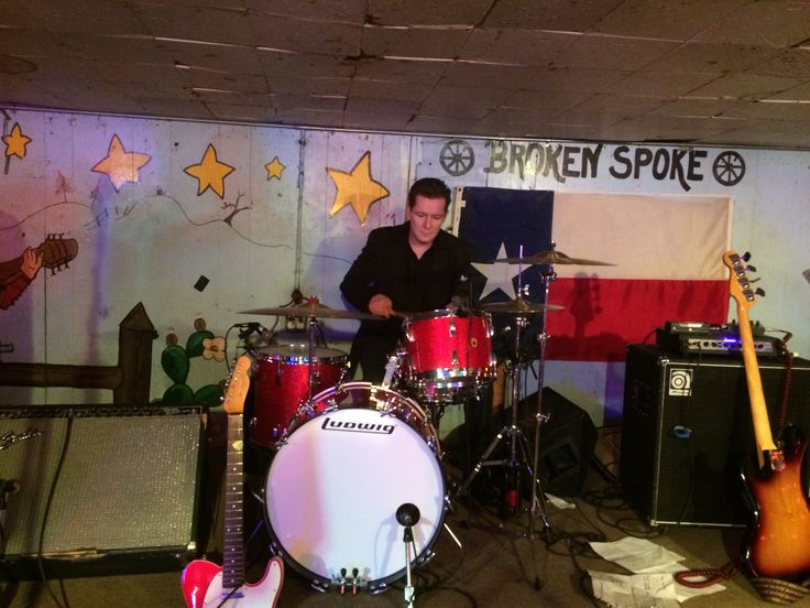 Scott Matthews playing drums for The Derailers at The Broken Spoke in Austin, Texas.
