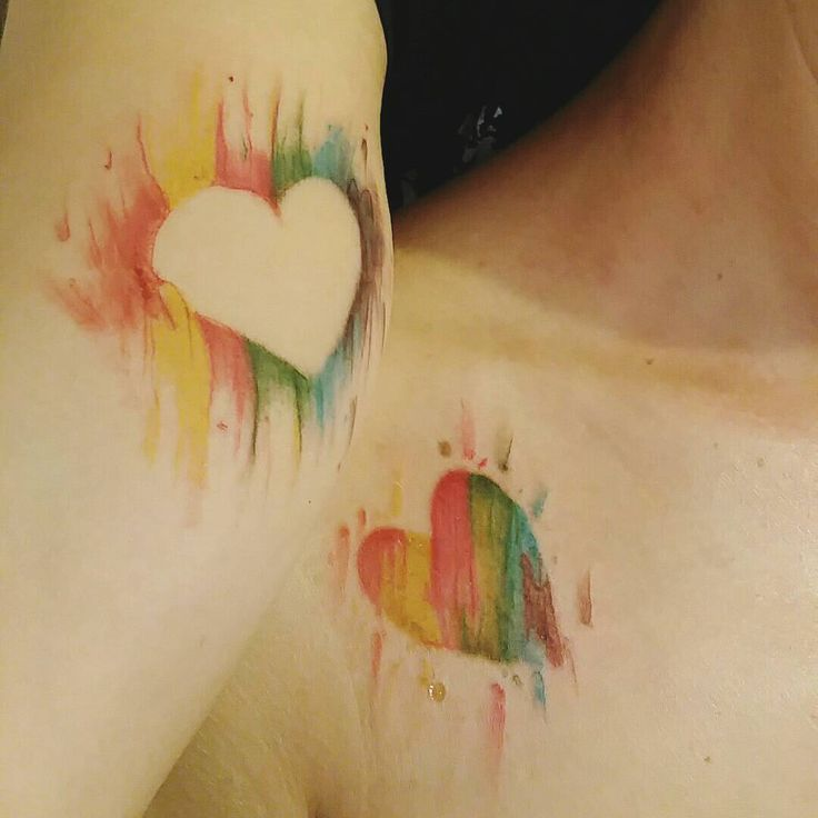 Rainbow matching tattoos on two lovely girls  #matchingtattoos  #rainbows #pixies