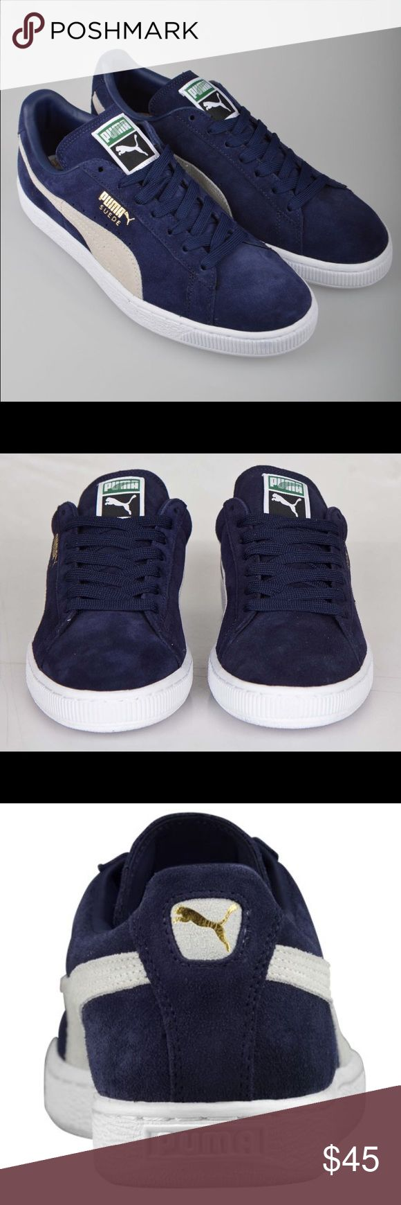 PUMA CLASSIC BLUE SUEDE PUMA CLASSIC BLUE SUEDE ~ NEW ~ WAS A CHRISTMAS GIFT & THEY ARE TOO BIG FOR ME ~ ONLY WORN IN THE HOUSE ONCE ~ COMES WITH BOX ~ DARK BLUE SUEDE & SHOE LACES Puma Shoes
