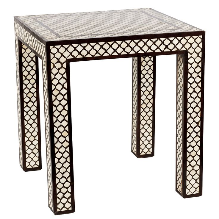 Trellis Pattern Rosewood & Bone Square Side Table