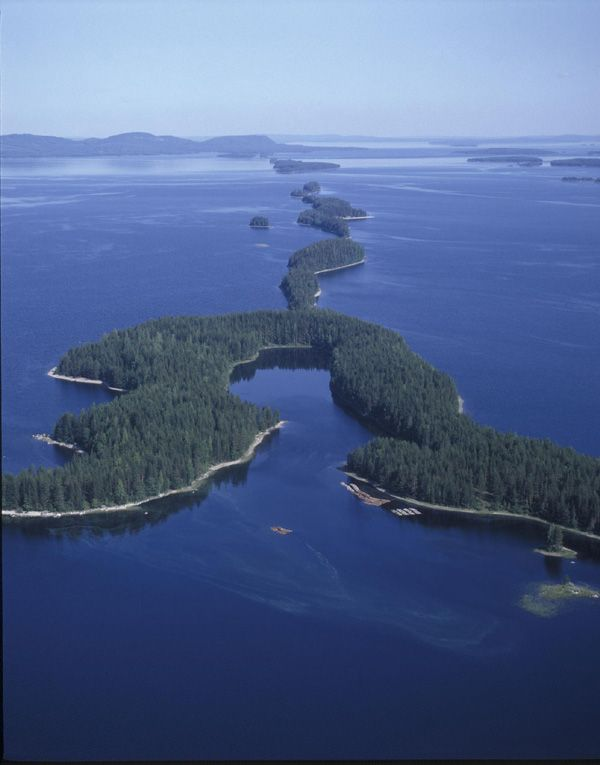 Aerial view of lake Pielinen, Finland