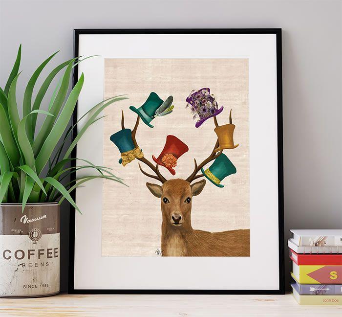 Hat Collector Deer, Art Print