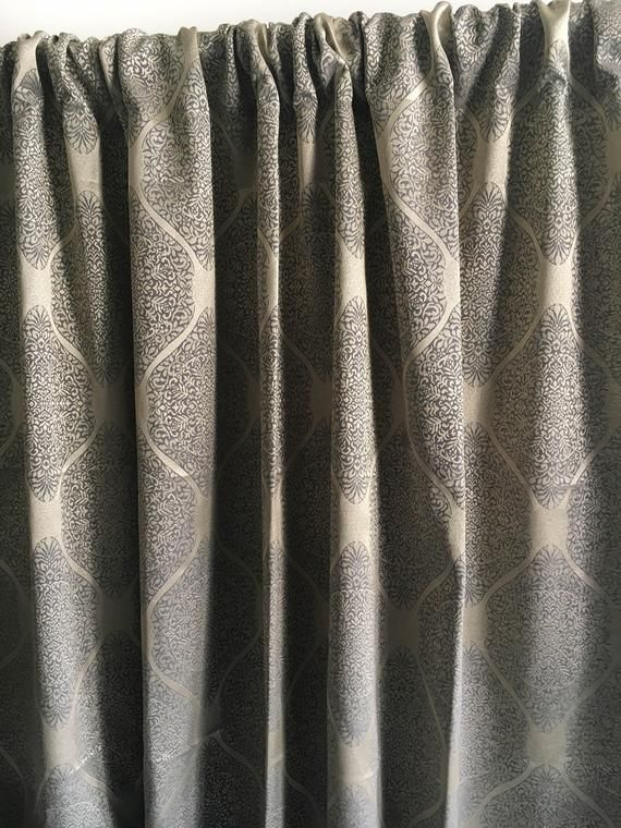 Moroccan Vintage Gold Blackout curtain panels, custom curtains 84 96 108 120 130 inch Silk curtain panels, Window curtain panel, Drapes