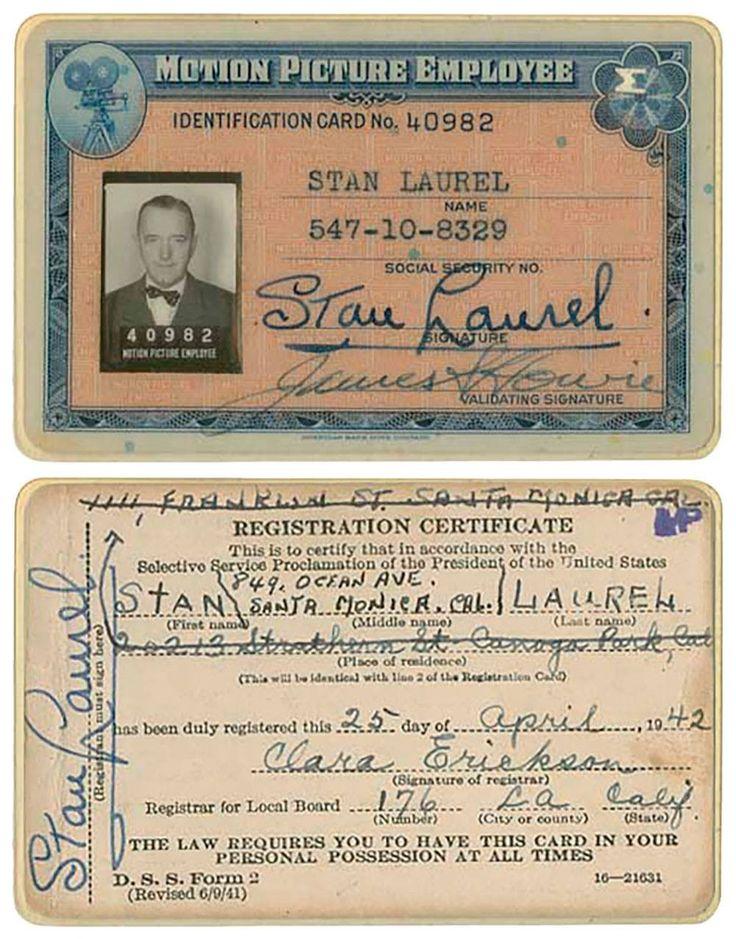 Stan laurel's ID card. Stan laurel, Laurel and hardy