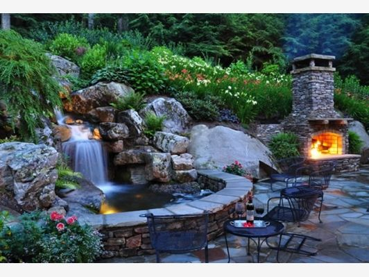 Backyard waterfall home and garden design ideas for Garden design with pond and waterfall