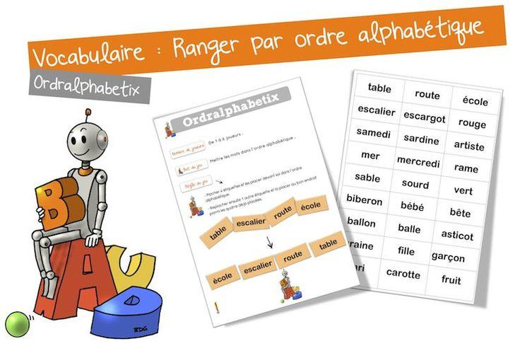 Jeu vocabulaire : l'ordre alphabétique | Bout de Gomme