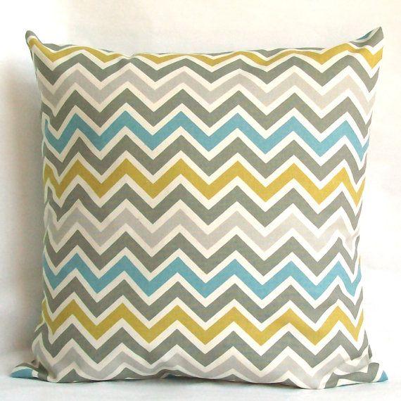 Blue Yellow Pillow Cover, Optional Zipper - 18x18 or 20x20 inch Chevron Decorative Cushion Cover - Blue Citrine-Yellow Grey Zig Zag
