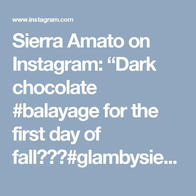"Sierra Amato on Instagram: ""Dark chocolate #balayage for the first day of fall🍂🍫🍂#glambysierraa #hairbysierraa #imanaskysalon #sanmarcosca #b3 #chocolatebalayage…"""