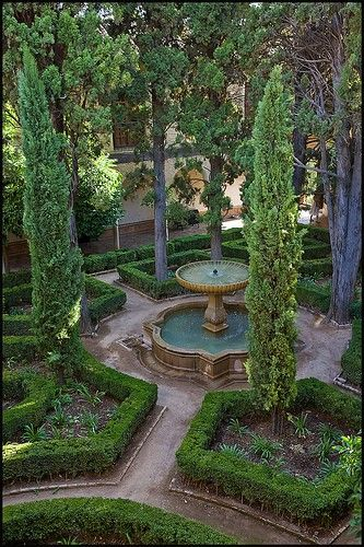 Small garden ideas. Tall skinny trees will give a small space grander.