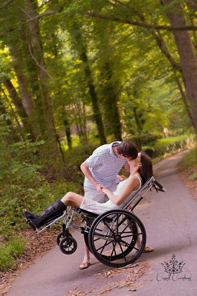 Wheelchair (wheel chair) photography by Hunter Cassel, models: Jessica and Grant Campbell. Couple photography, photoshoot, photos, broken legs, back road, dip kiss