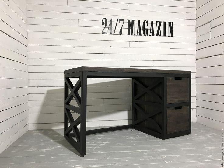 Купить Письменный стол MARSHAL. - черный, стол, стол из металла, письменный стол, Стол из массива