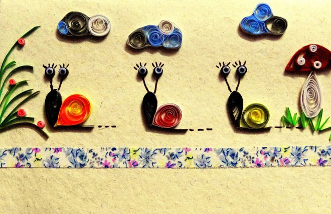 Quilled snails on a cheerful and casual greeting  card