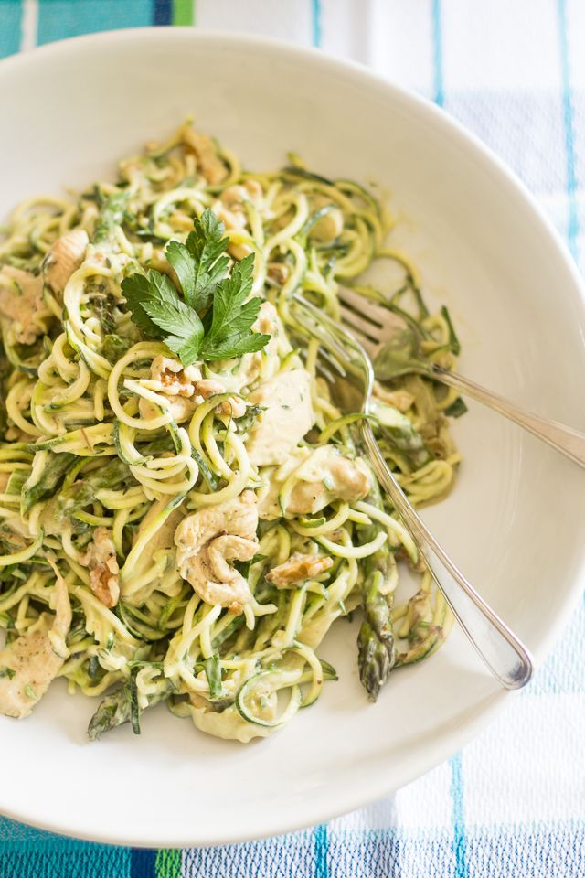 Soft zucchini noodles covered in a rich and creamy avocado sauce with hearty pieces of chicken and crisp asparagus. Low carb never tasted better!