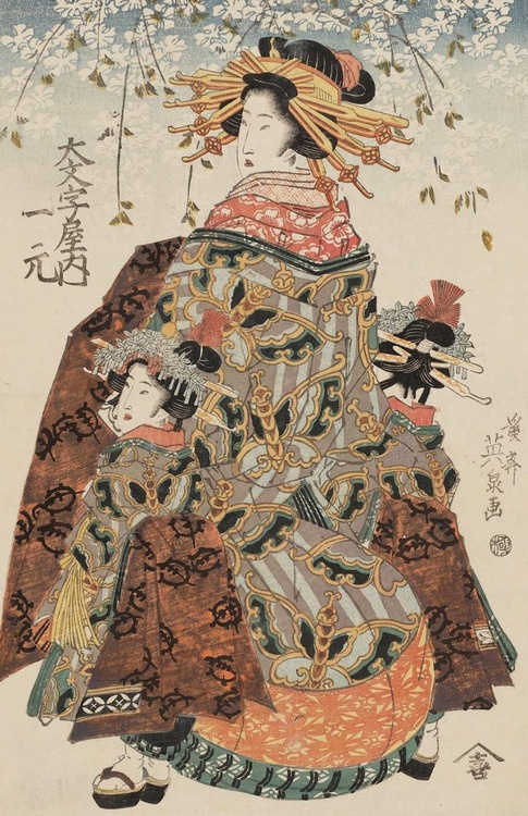 Hitomoto of the Daimonjiya.. Ukiyo-e woodblock print, about 1830's, Japan, by artist Keisai Eisen.