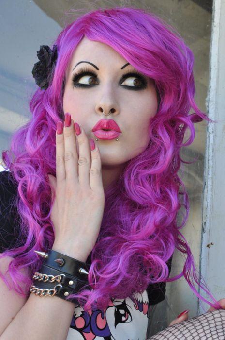 : Purple Hair, Alternative Girls, Dyed Hair, Hair Colors, Pink Hair, Magenta Hair, Hair Makeup, Bright Colors Hair, Hair Style