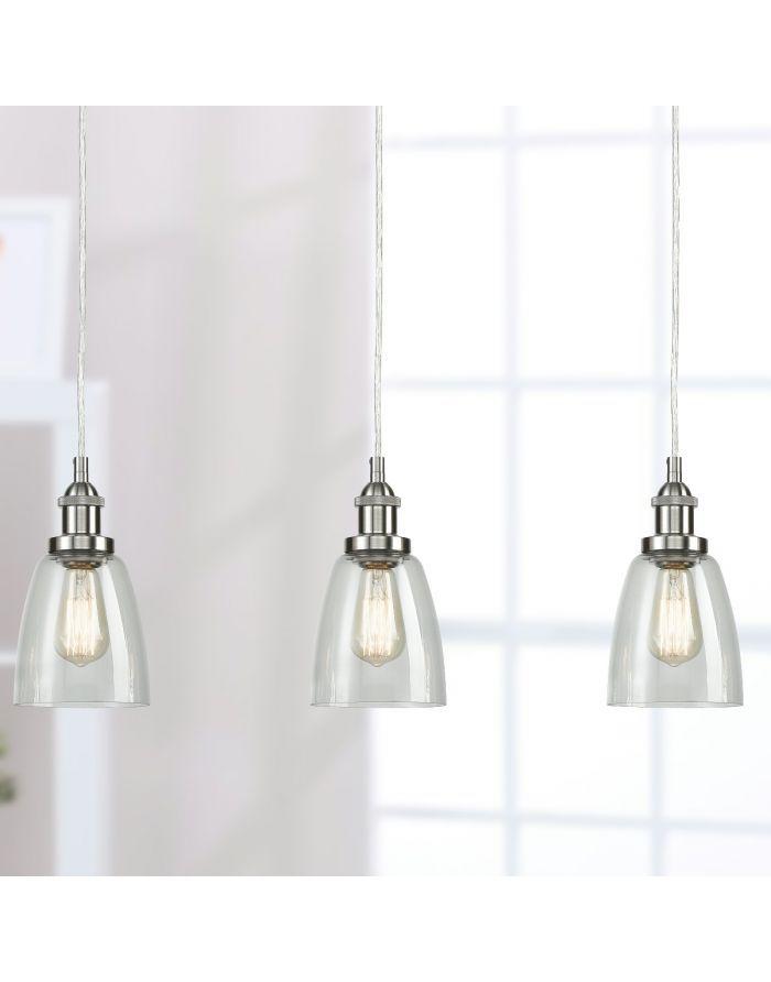 Modern Glass Brushed Nickel Kitchen Island Pendant Lighting