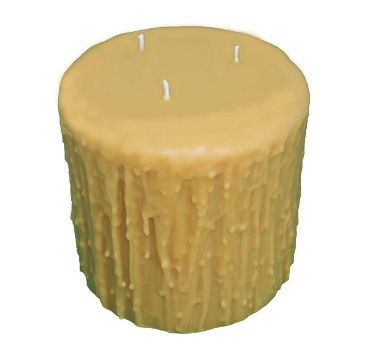 Beeswax - Natural 3 Wick Pillar beeswax candle image