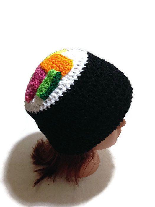 Sushi Hat, Sushi Roll Beanie, Kawaii Sushi Hat, Crochet Novelty Hat, Sushi…