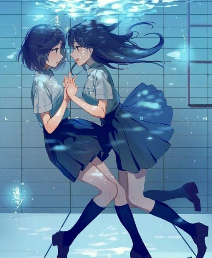 This Wallpaper Shows Two Beautiful Anime Girls About To Kiss Underwater I Hope You Like This Pretty Anime Wallpaper Anime Yuri Anime Anime Toon