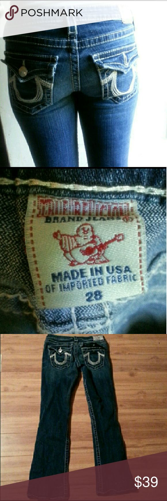True  Religion  jeans # missed  back  button Size  28 hemmed  inseam  measures  30' True Religion Jeans Boot Cut