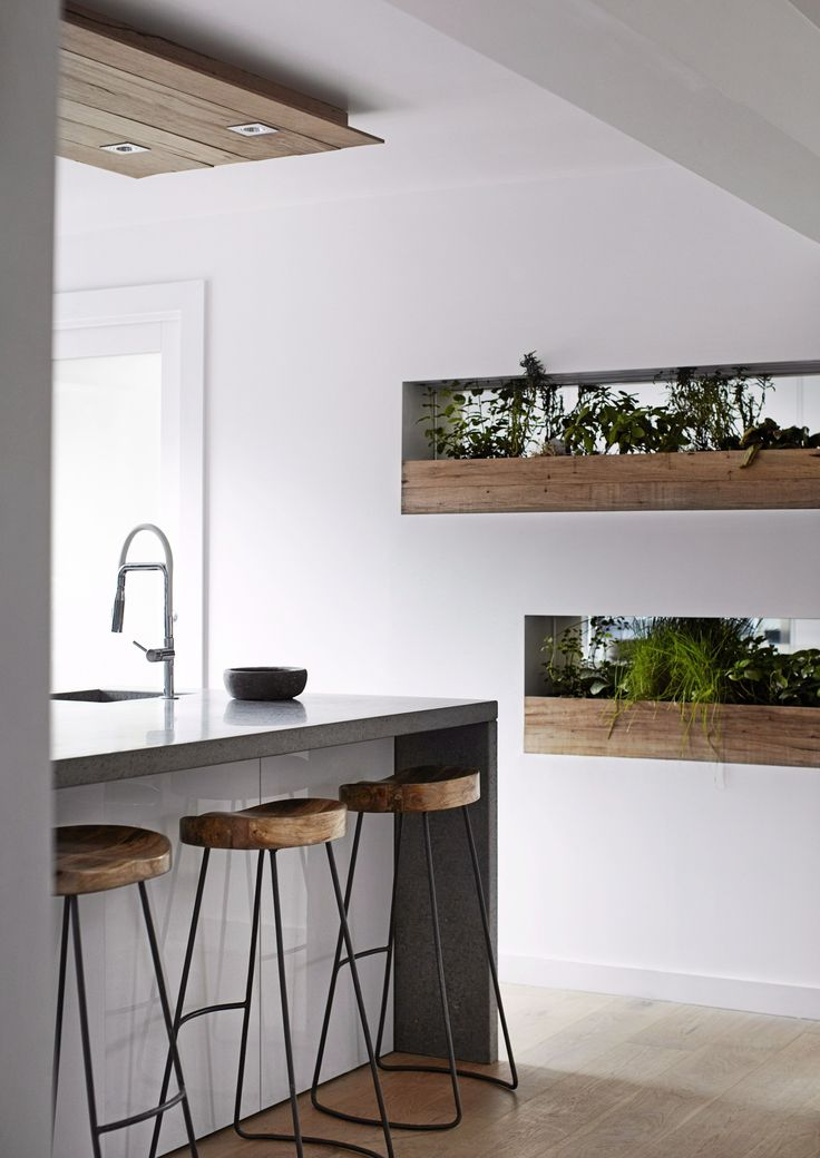 The planters in the kitchen have mirrors behind them to double the foliage effect. The concrete benchtop adds to the earthiness of this space.