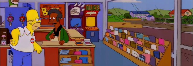 Much Apu About Nothing [S7 E23] (dir. Susie Dietter) Homer looks particularly yellow in this frame, making his clothes seem a lot duller. Again, due to a lack of any continuity, the area around the...