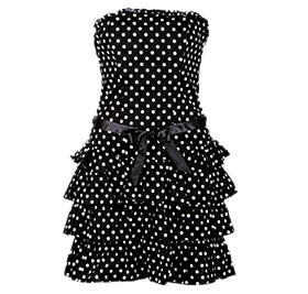 polka-dot dress  black/white  size:30-40