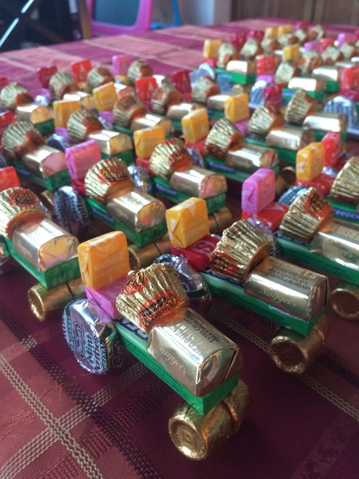 An army of candy tractors.  These were modified from other designs I found on Pinterest.  I used these as party favors for my son's tractor birthday party.