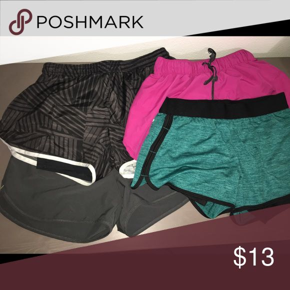 Women's workout shorts Sold together  3 smalls and 1 medium (similar fit to the smalls) - gently used - light material - good for running or crossfit Shorts