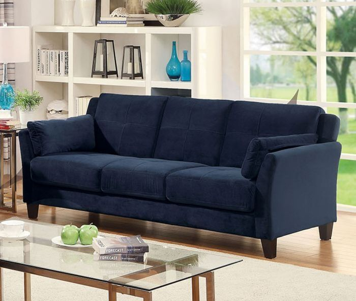 Navy Blue Fabric Sofa With Images Contemporary Sofa Living Room Sofa Furniture