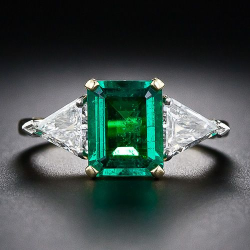 1.80 Carat Emerald and Diamond Ring - 30-1-5016 - Lang Antiques  | More here: http://mylusciouslife.com/bling-fling-engagement-ring-pictures/