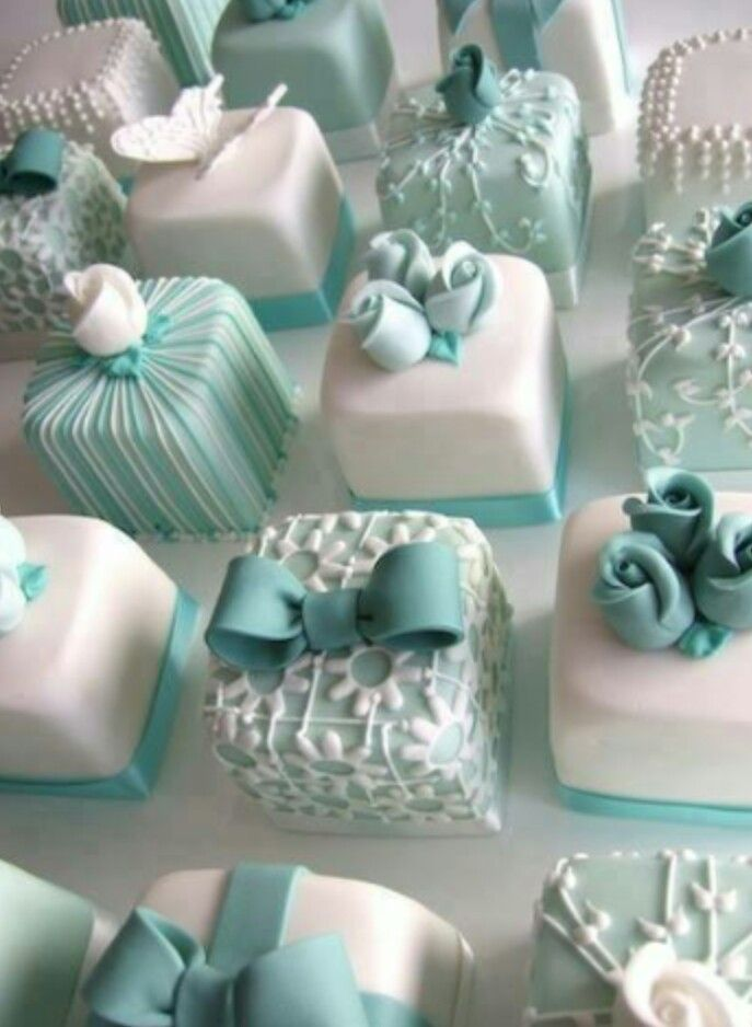 Tiffany Blue and Silver Wedding | Tiffany-coloured petits fours...