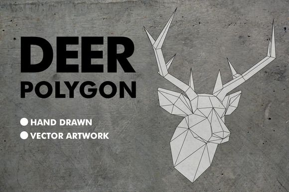 Deer Polygon Vector by Offset on @creativemarket